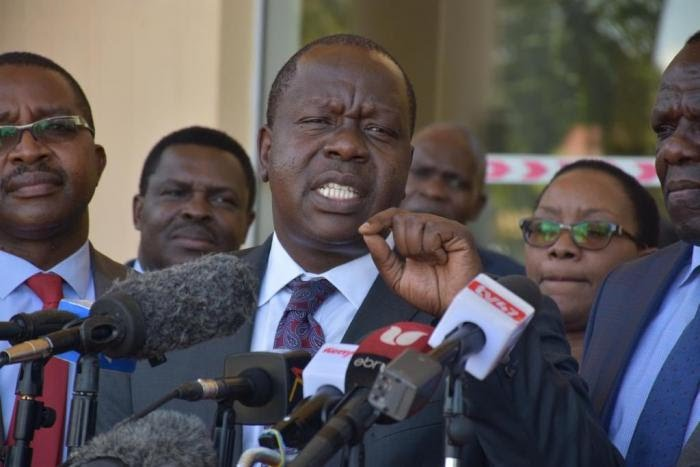 Interior CS Fred Matiang'i addressing the press after a meeting with Governors on Thursday, February 20, 2020.