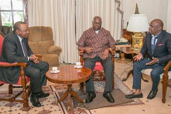 President Uhuru Kenyatta (left) chats with former President Daniel Moi (centre) and his son Gideon at Mr Moi's Kabarak home, Nakuru County, on July 28, 2018