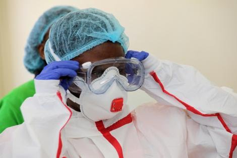 A medical practitioner dressed in protective gear at Coronavirus isolation and treatment facility in Mbagathi District Hospital on Friday, March 6, 2020.
